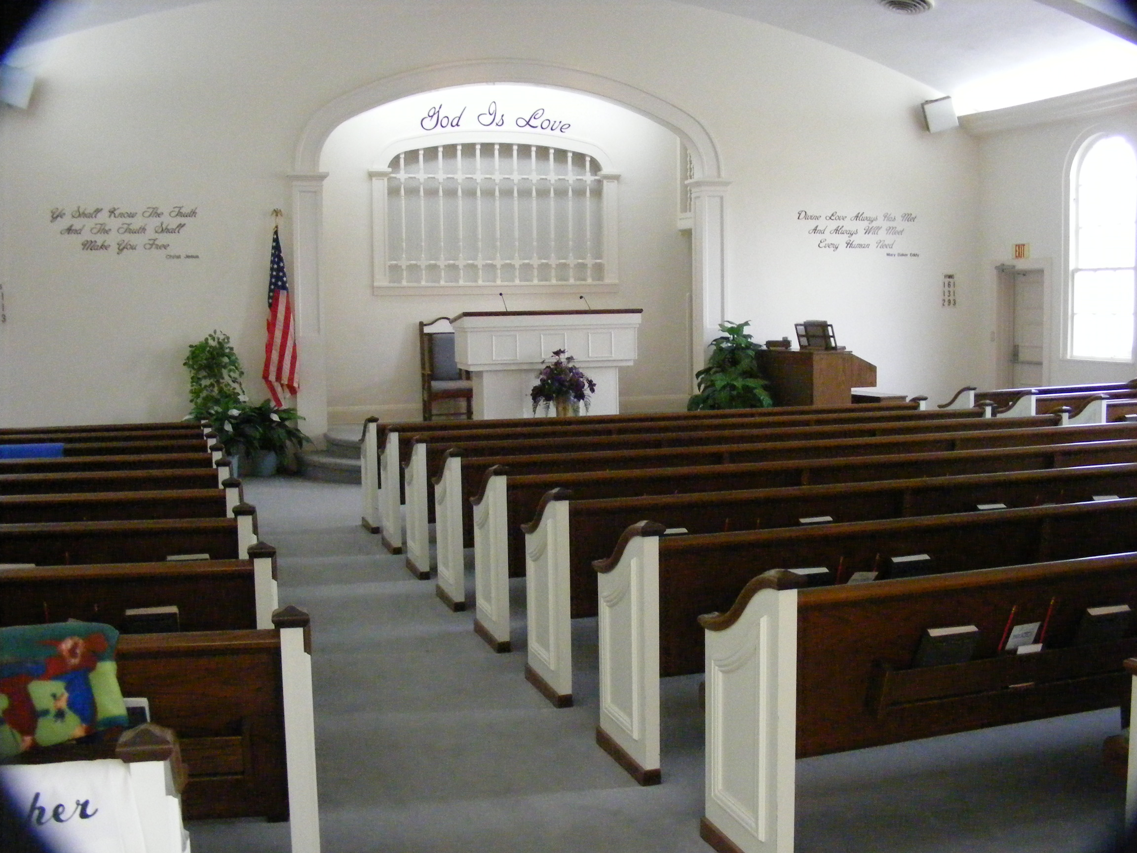 Interior of church auditorium.